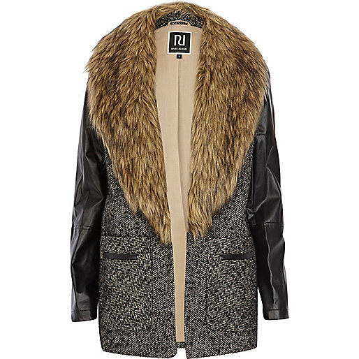 Grey faux fur collar boyfriend coat