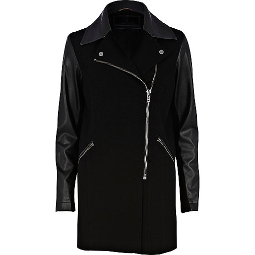 Black leather look sleeve biker jacket