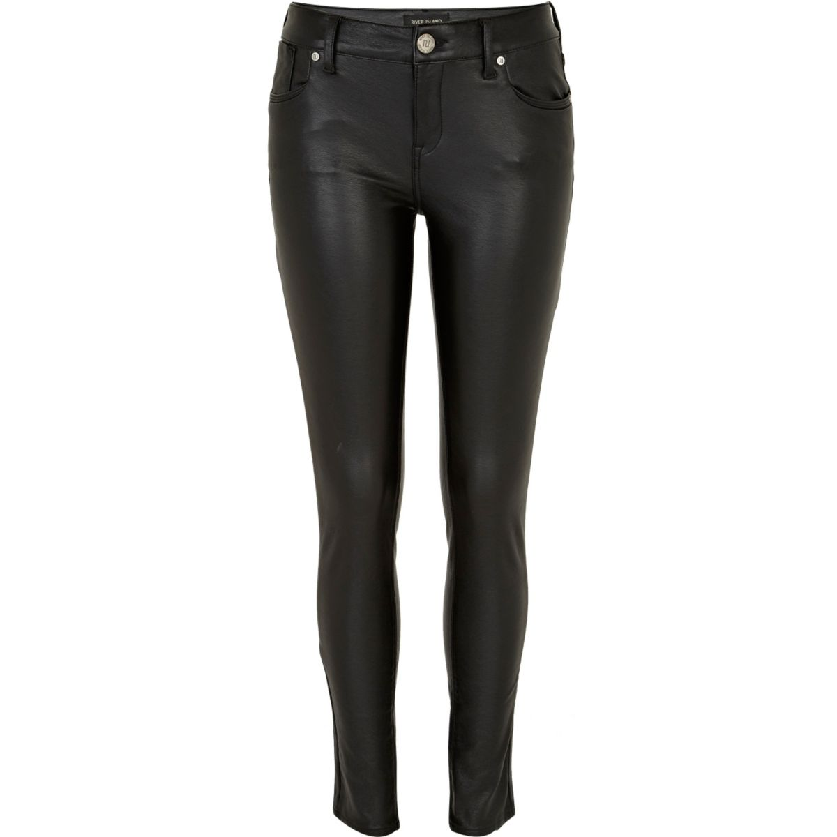 Black leather look Olive super skinny jeans