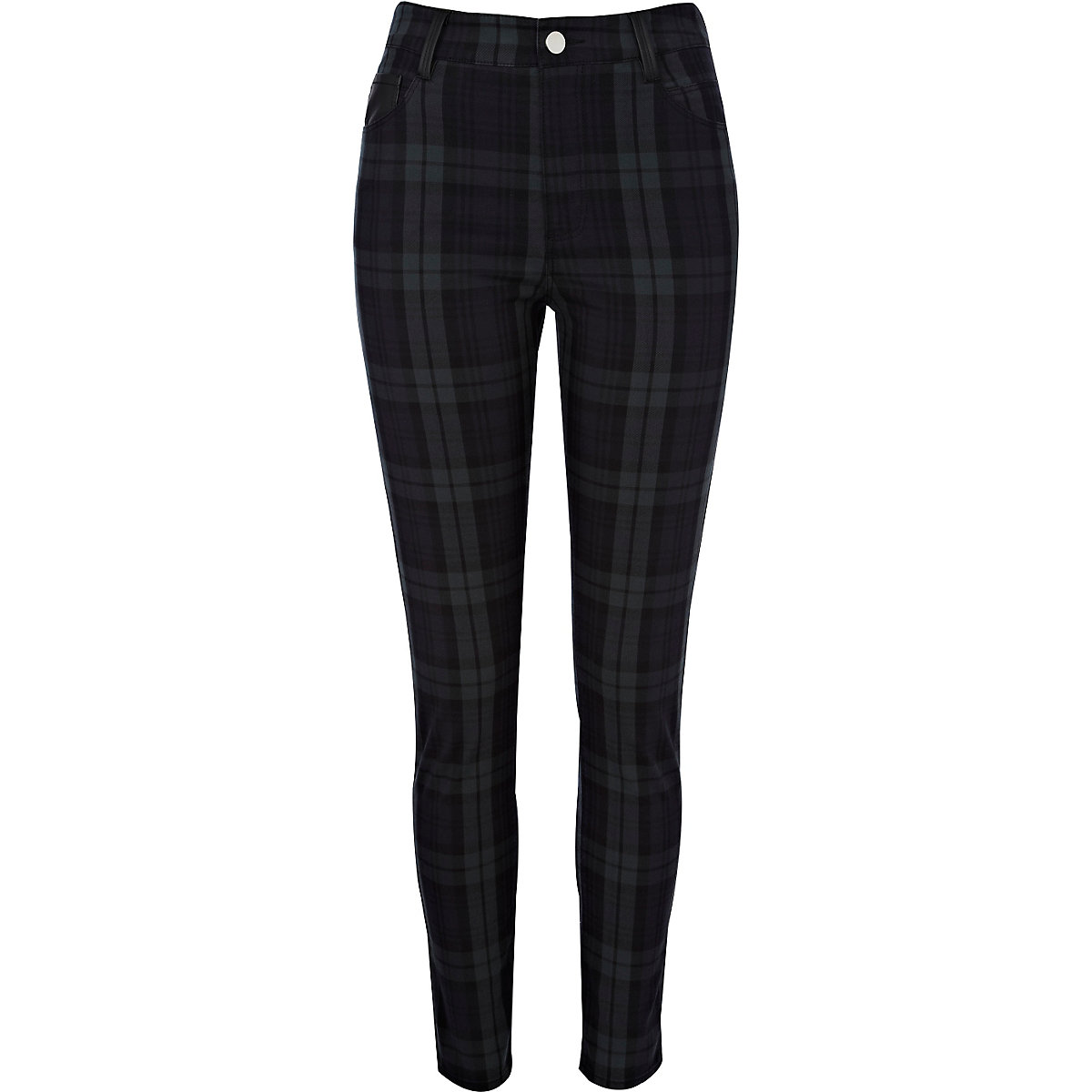 Green check high waisted trousers