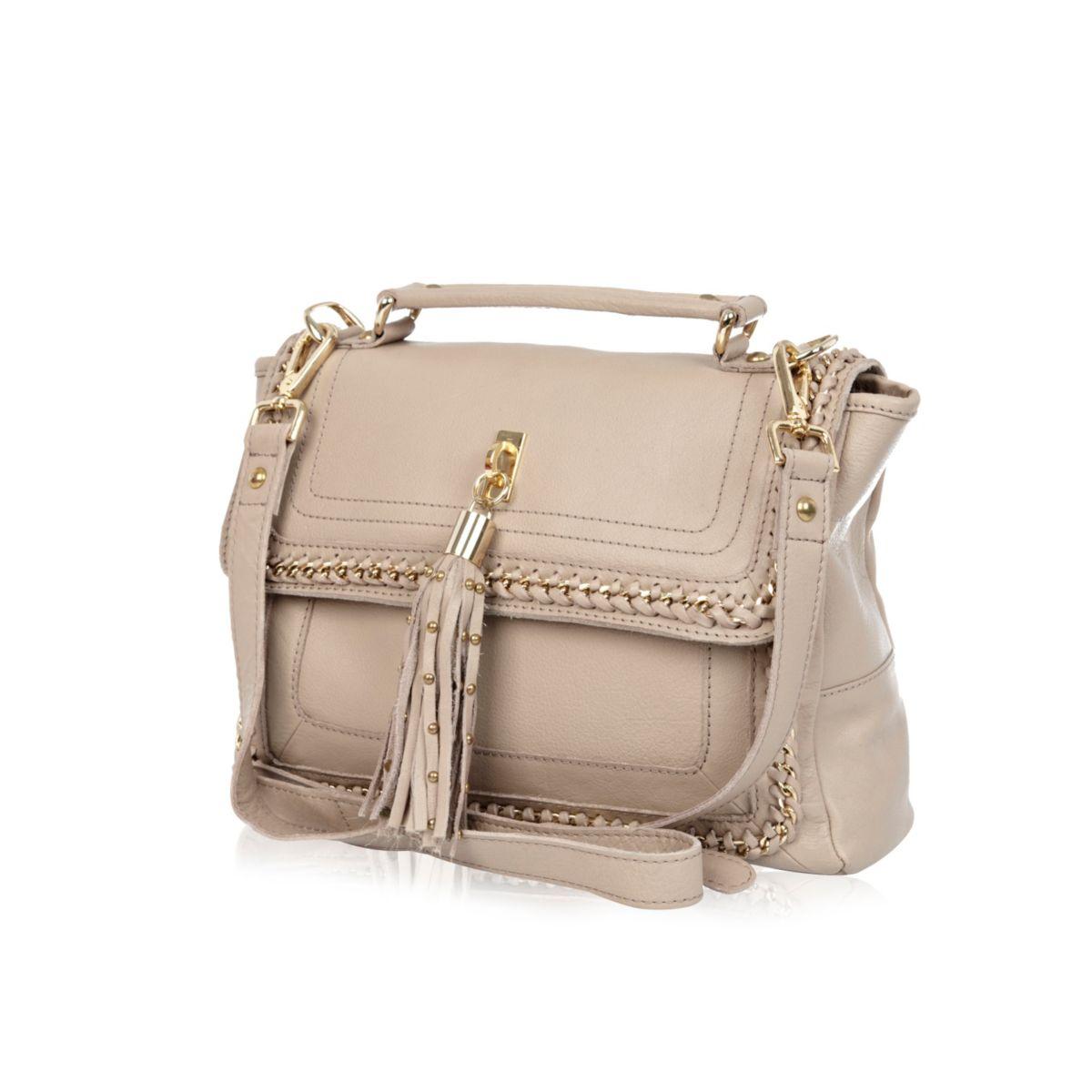 Beige leather chain detail satchel