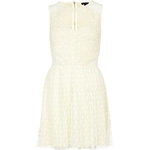 Cream cut out mesh prom dress