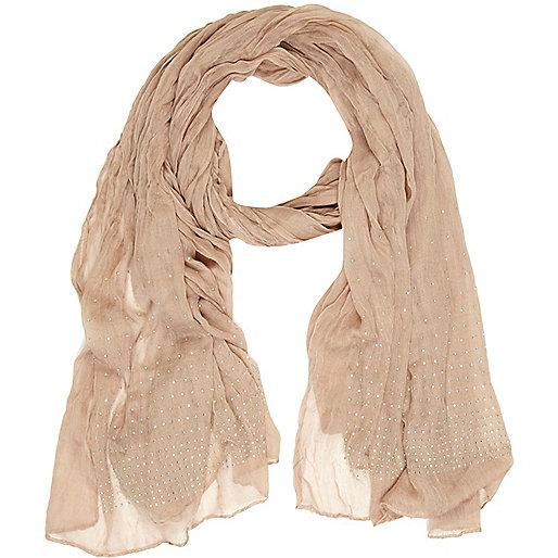 Beige rhinestone scarf