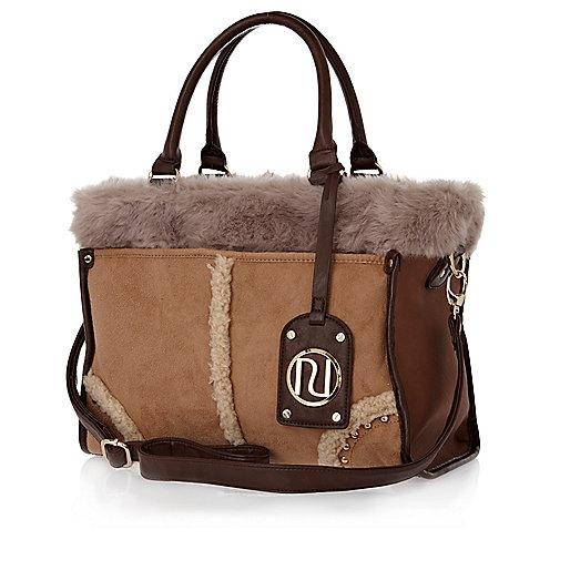 Brown faux fur mix tote bag