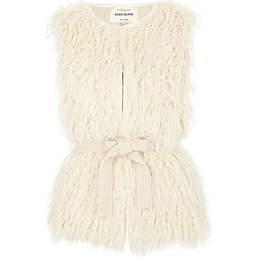 Cream sleeveless mongolian fur vest