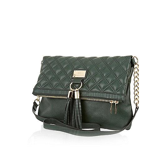 Green quilted tassel messenger bag