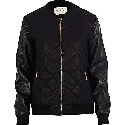 Black leather look snake bomber jacket
