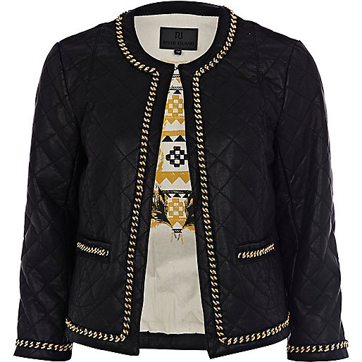 Black leather look chain jacket