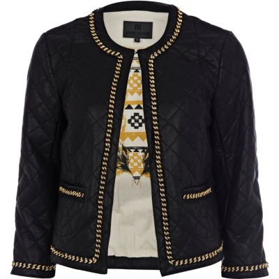 Black blazer with leather look sleeves