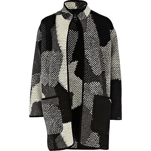 Grey print funnel neck lightweight coat