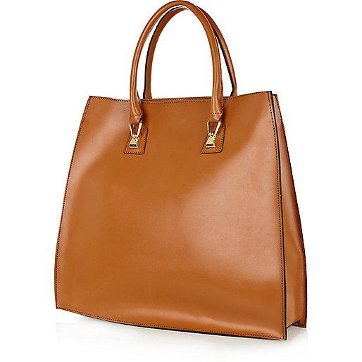 Dark beige leather hard tote bag