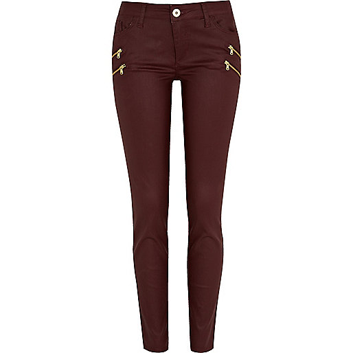 Dark red ellys coated zip super skinny jeans - jeans - sale - women