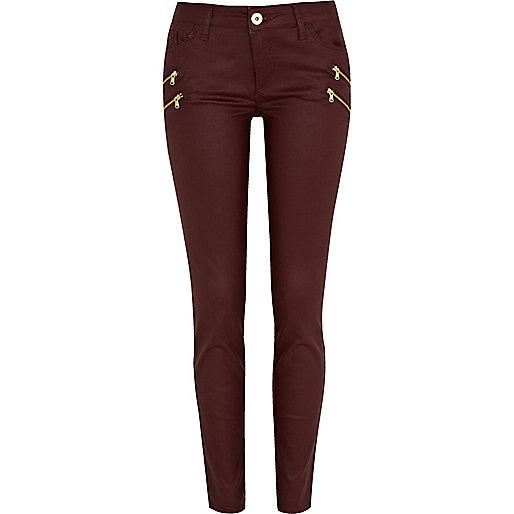 Dark red ellys coated zip super skinny jeans