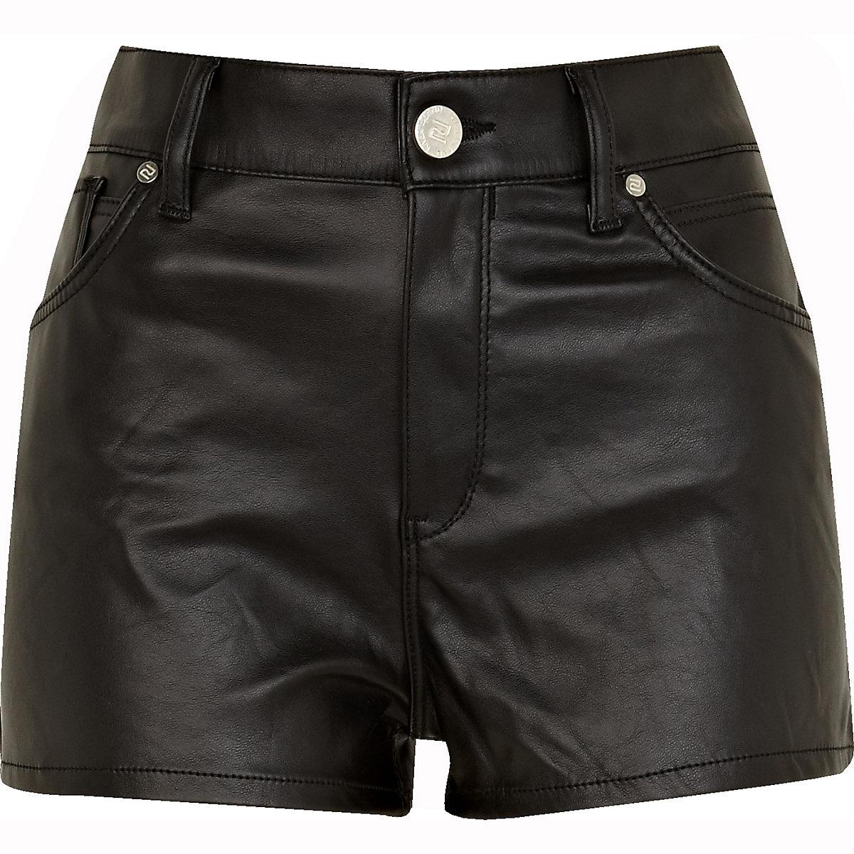 b6cb17c43d2 Black leather look shorts - Denim Shorts - Shorts - women