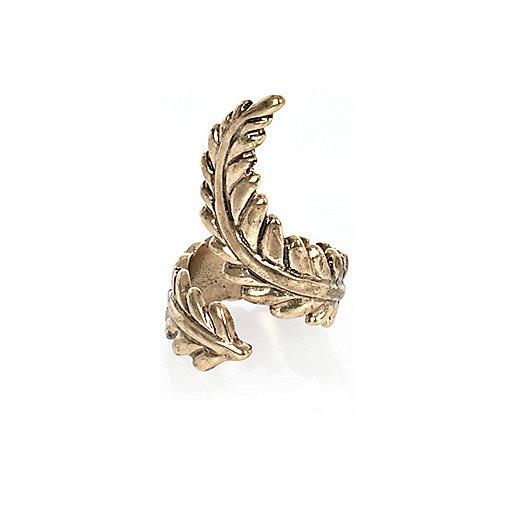 Gold tone twisted leaf ring