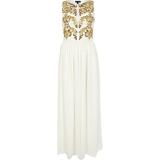 Cream baroque print maxi dress