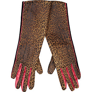 Brown leopard print mid length gloves