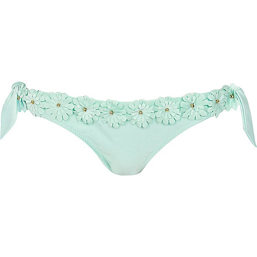 Mint green 3d flower bikini bottoms