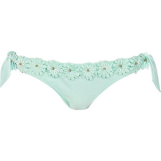 Mint green 3d flower bikini bottoms