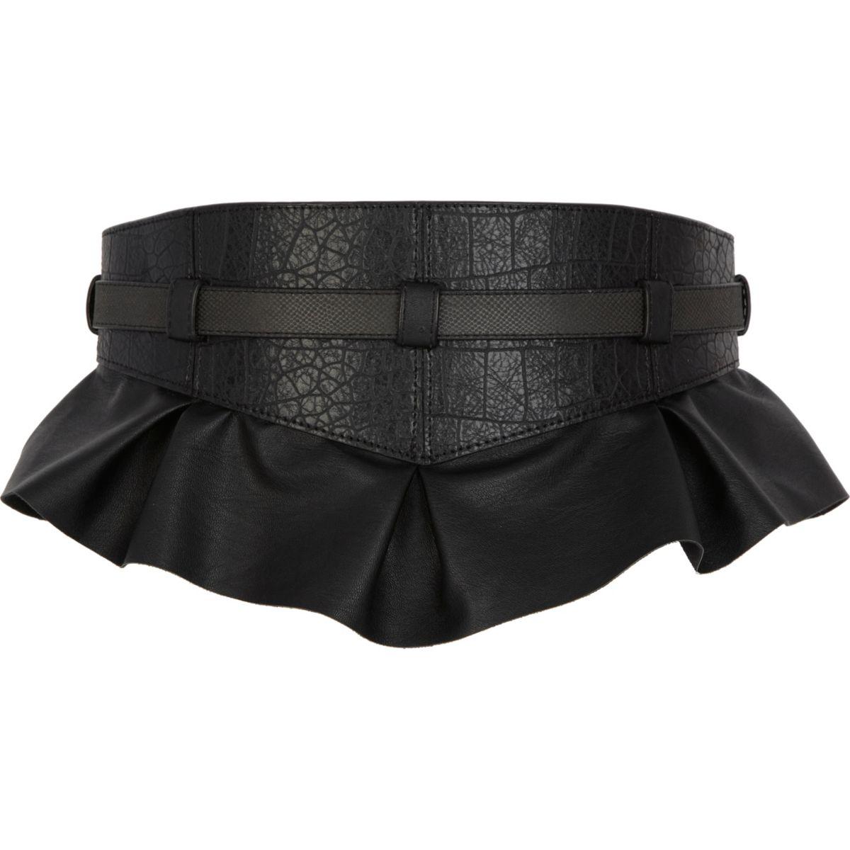 Black peplum waist belt