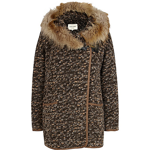 Brown faux fur hooded coatigan