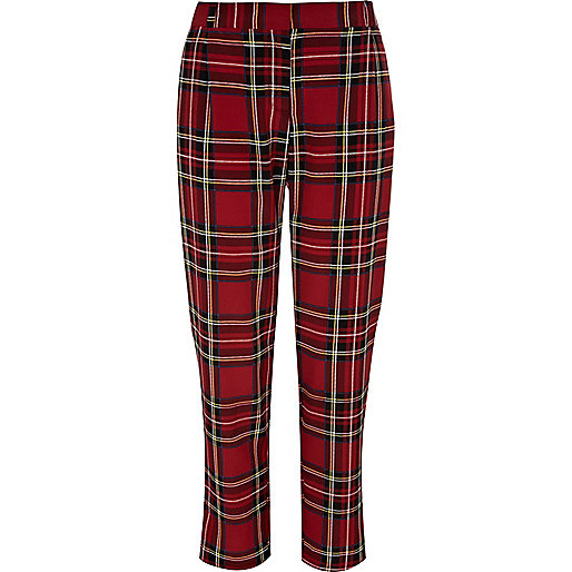 Red plaid pants - pants - sale - women