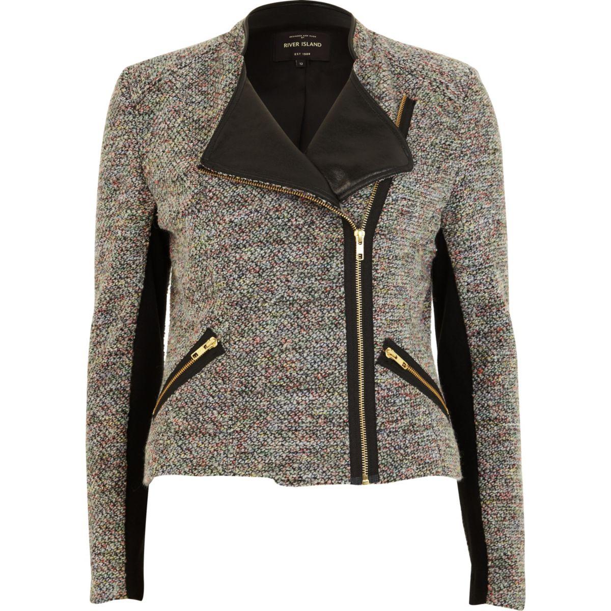 Grey tweed biker jacket