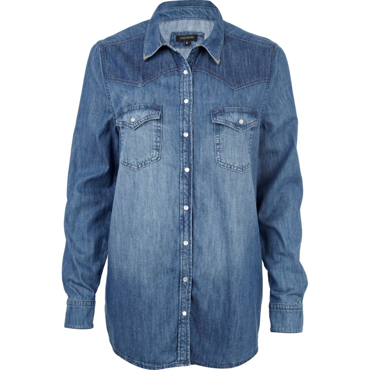 Mid wash denim shirt