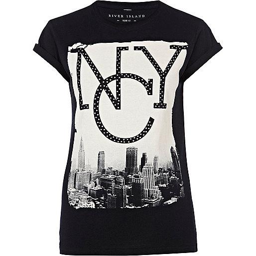 Black studded NYC print t-shirt