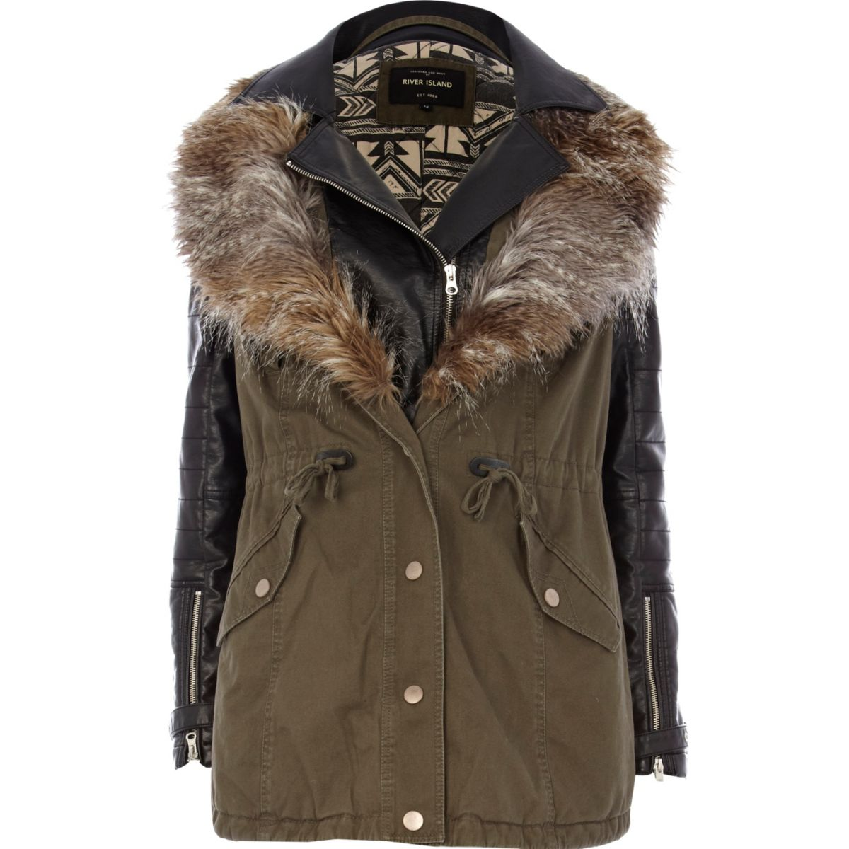 Khaki 2 in 1 leather look parka jacket - Coats & Jackets - Sale ...