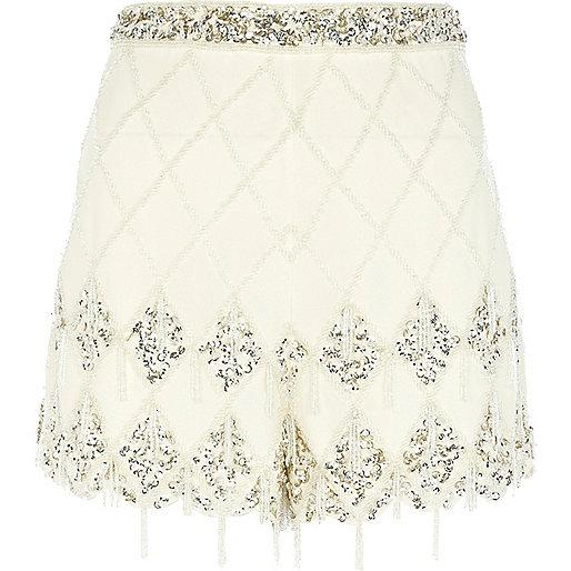 Cream check embellished shorts