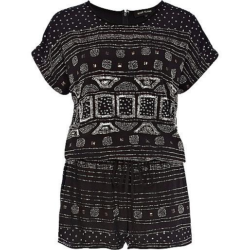 Black embellished t-shirt romper