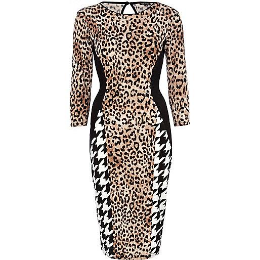 Beige plaid and leopard print bodycon dress