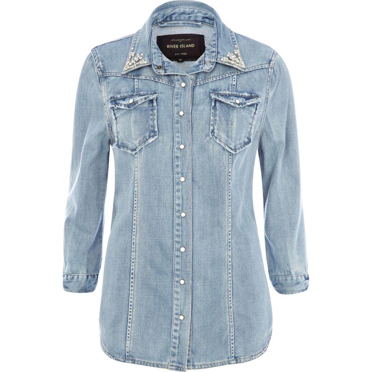 Light wash denim rhinestone collar outer shirt