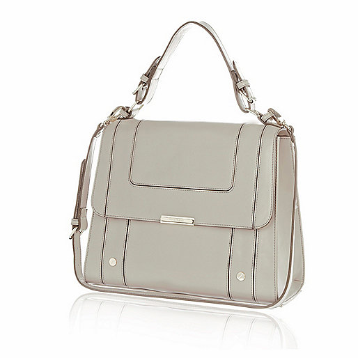 Pale grey structured panel square bag