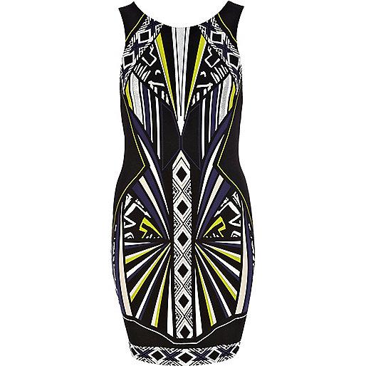 Black futuristic print bodycon dress