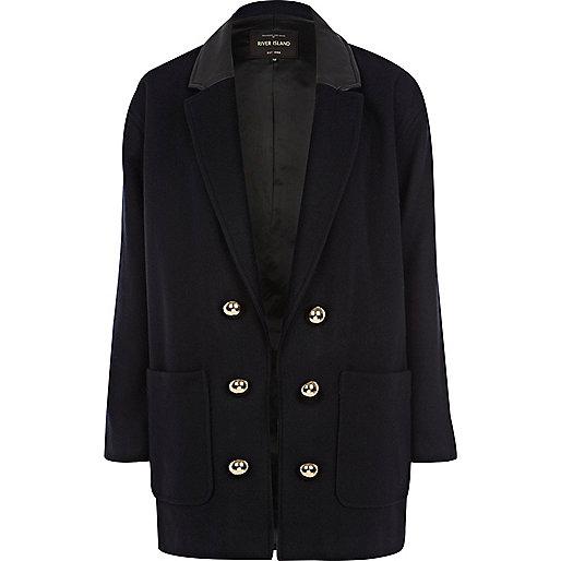 Navy military boyfriend coat