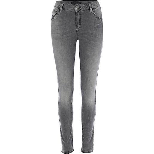 Grey washed Amelie superskinny jeans