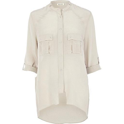Light grey oversized silk utility shirt