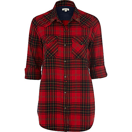 red check shirt tops sale women