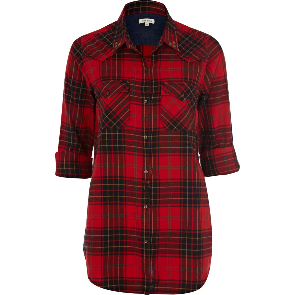 White Mark Women's Piper Plaid Tunic Top is made from a soft plaid fabric. Featuring a button-front design and an allover yarn-dyed woven plaid pattern. Made with long sleeves and buttoned cuffs that roll and tab to 3/4 length/5(4).