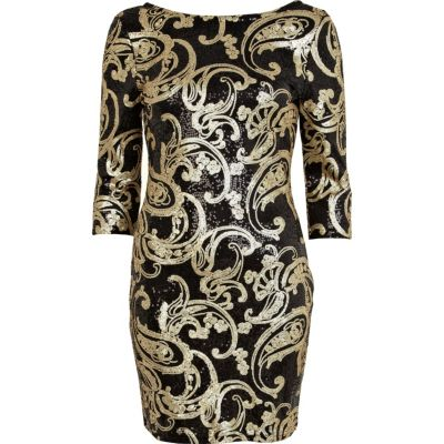 River island black gold sequin dress