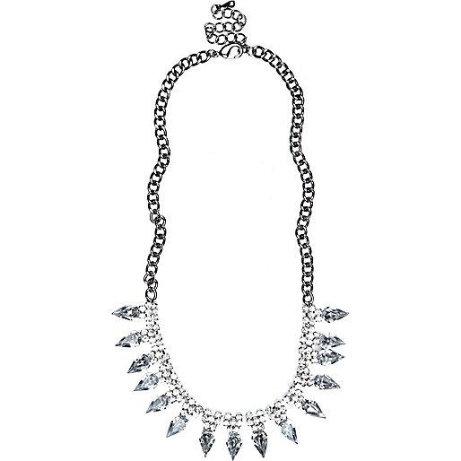 Silver tone rhinestone spike short necklace