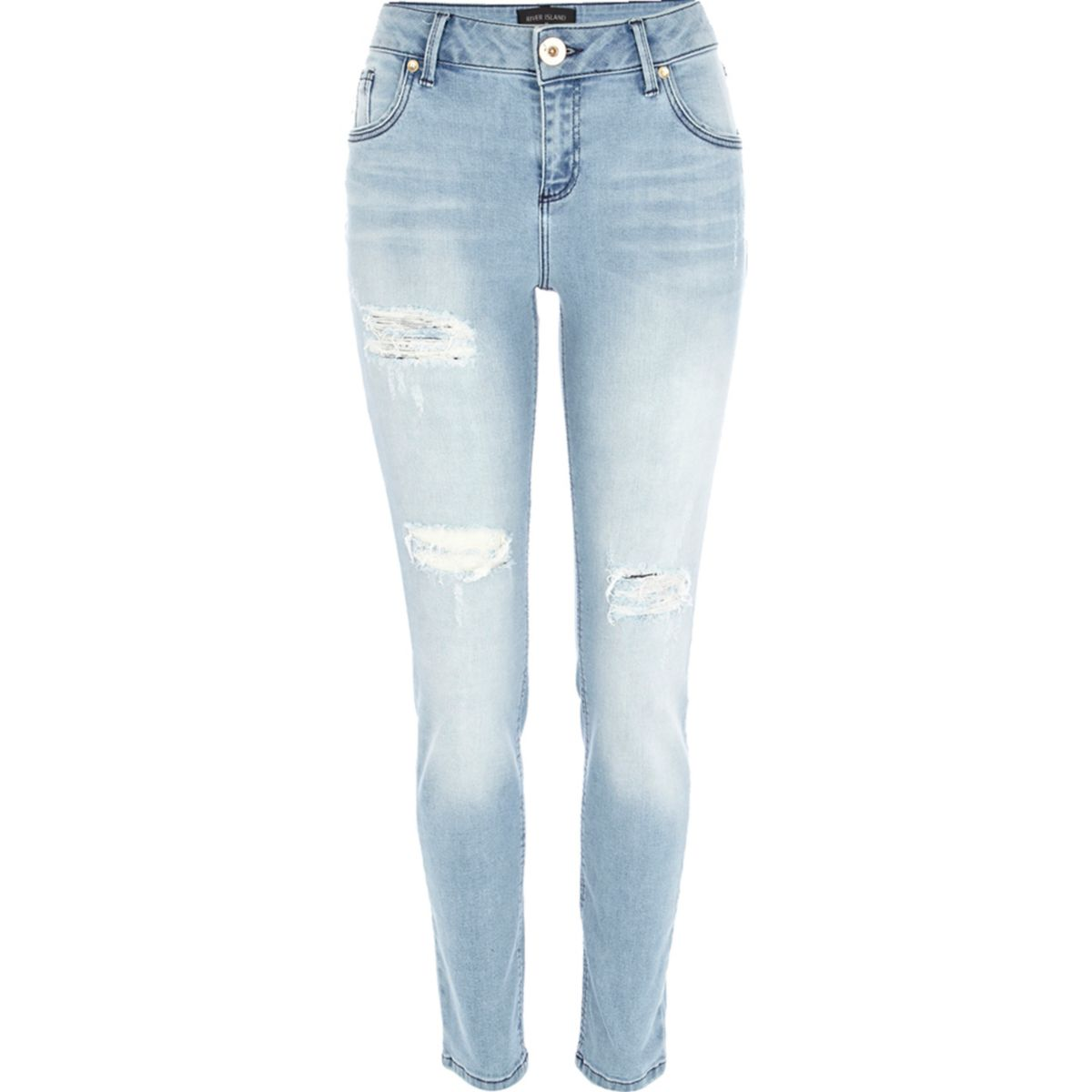 Light wash ripped Olive superskinny jeans