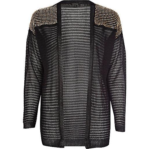 Black beaded crochet cardigan
