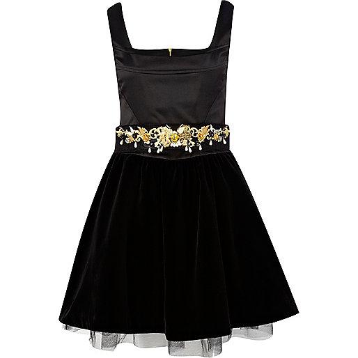 Black embellished velvet prom dress