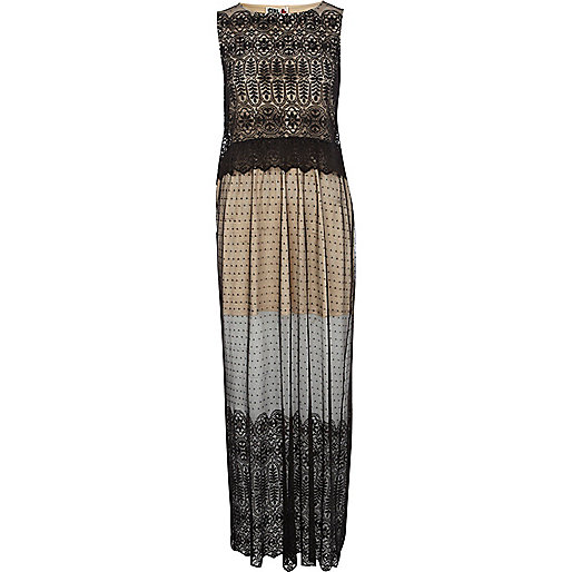 Black Chelsea Girl 2 in 1 lace maxi dress