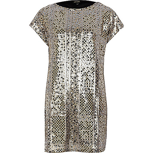 Gold and silver sequin dress