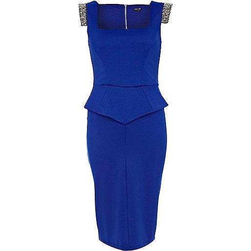 Blue square embellished peplum pencil dress
