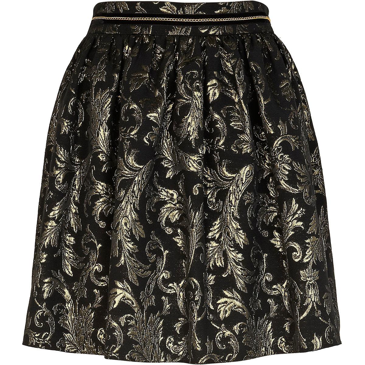 Black brocade mini skirt